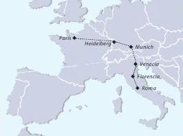 mapa completo del itinerario del tour