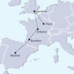Mapa del tour Madrid a París