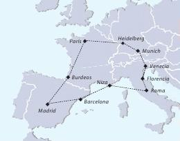 Mapa del Tour viajar a Europa todo incluido
