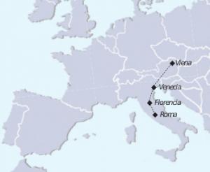 Mapa tour Viena e Italia