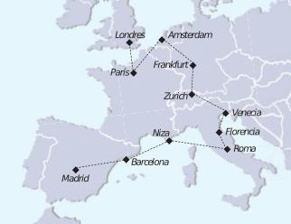 Mapa recorrido Gran tour Europa Lux