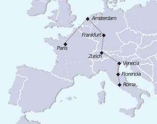 Mapa recorrido tour Europa