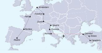 Mapa recorrido paquete a Turquia y Europa