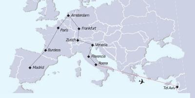 Tierra Santa y Europa mapa recorrido tour