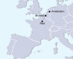 Mapa recorrido tour París Amsterdam