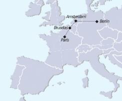 Mapa recorrido tour de París a Berlín, incluye Bruselas Brujas y Amsterdam