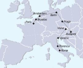 Mapa recorrido París a Roma
